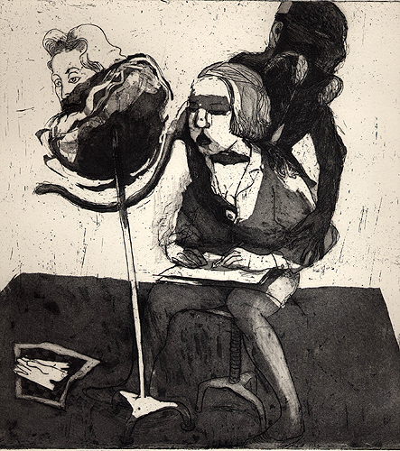 Portrait of an artist at home, 2001, etching/aquatint, 25 x 24 cm, edition 25