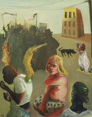 Protestors, 2013, oil on canvas, 100 x 80 cm