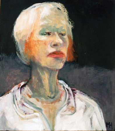 Self in white shirt, 2008, oil on canvas, 45 x 35 cm