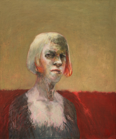 Self portrait in hairy vest, 2009, oil on canvas, 66 x 56 cm