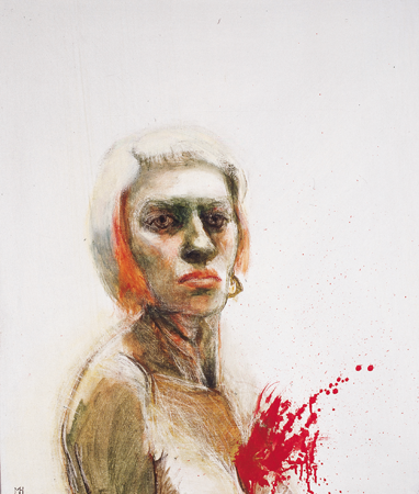 Self portrait exploding chest, 2006, oil on canvas, 65 x 66 cm