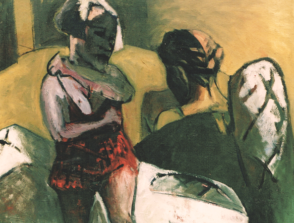 Sisters divided by a mattress, 1997, oil on canvas, 70 x 90 cm