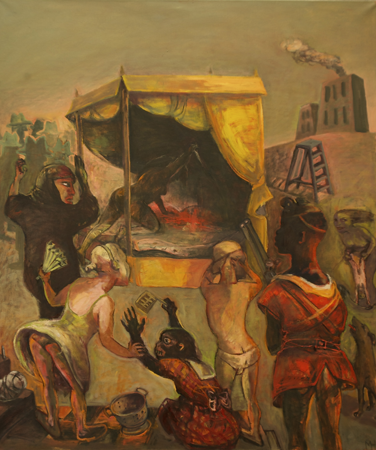 Spectators, 2013, oil on canvas, 130 x 110 cm
