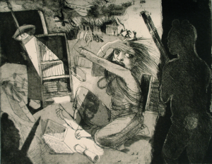 The Bookseller's daughter, 2014, etching/aquatint, 20 x 25 cm, edition 30