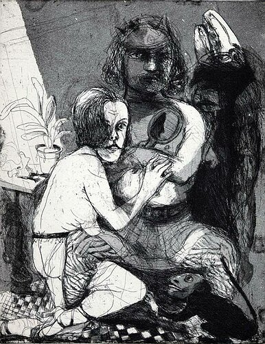 The king and I, 2003, etching/aquatint, 26 x 21 cm, edition 25