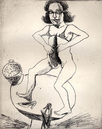 The tabledancer, 2001, etching, 25 x 26 cm, edition 25