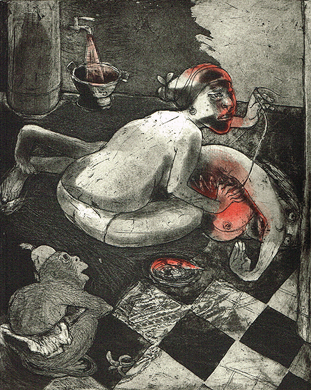We're all bleeding 1 (hand coloured) , 2012, etching/aquatint, 25 x 20 cm, edition 15