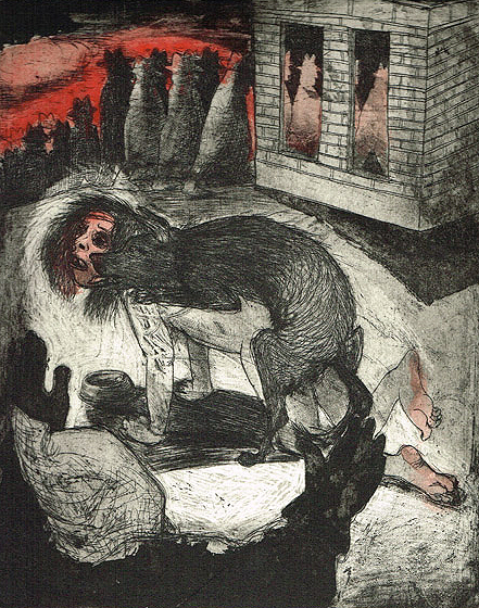 We're all bleeding 2 (hand coloured) , 2012, etching/aquatint, 25 x 20 cm, edition 15