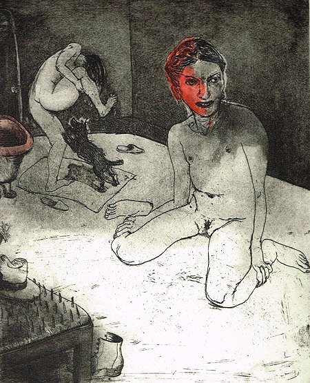 We're all bleeding 3 (hand coloured) , 2012, etching/aquatint, 25 x 20 cm, edition 15