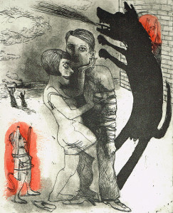We're all bleeding 4 (hand coloured) , 2012, 25 x 20 cm, etching/aquatint, edition 15