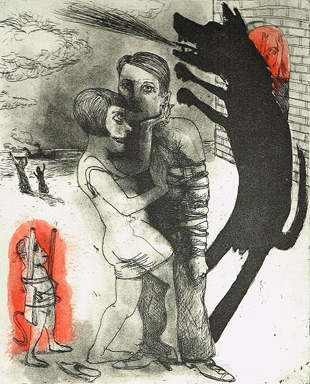 We're all bleeding 4 (hand coloured) , 2012, etching/aquatint, 25 x 20 cm, edition 15