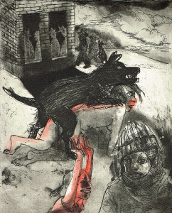 We're all bleeding 6 (hand coloured) , 2012, 25 x 20 cm, etching/aquatint, edition 15