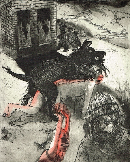 We're all bleeding 6 (hand coloured) , 2012, etching/aquatint, 25 x 20 cm, edition 15