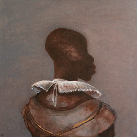 White collar black man, grey, 2014, oil on canvas, 51 x 51 cm