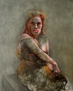 Bar coded woman, 2012, oil on canvas, 102 x 91 cm