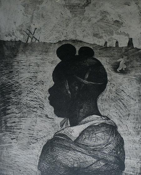 Child soldier 1 , 2013, 30 x 25 cm, etching/aquatint/ chine-collé, grey, V.E. 30