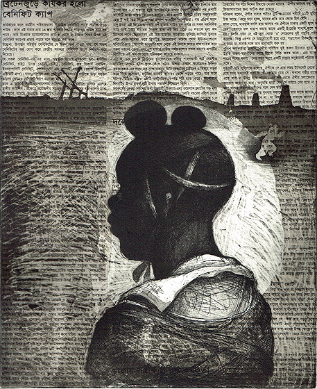 Child soldier 1 , 2013, 30 x 25 cm, etching/aquatint/ chine-collé, Indian Newsprint, V.E. 30