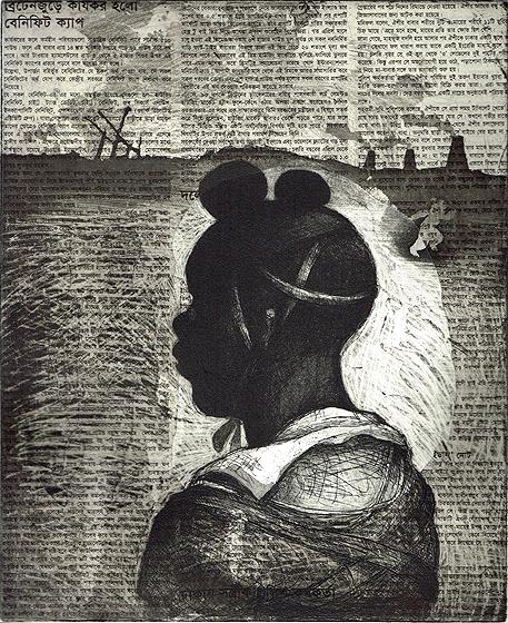 Child soldier 1 , 2013, 30 x 25 cm, etching/aquatint/ chine-collé, Indian Newsprint, V.E. 30