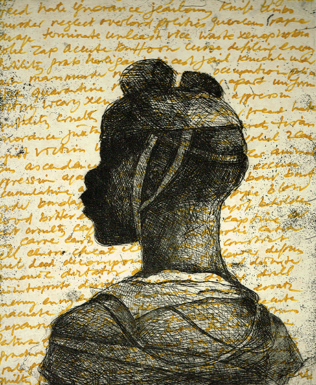 Child soldier 2 , 2013, 30 x 25 cm, etching / chine-collé, handwritten text, V.E. 30