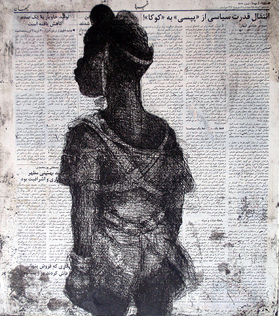 Child soldier, standing 2013 , 40 x 40 cm, etching/ chine-collé, Arabic newsprint, V.E. 30