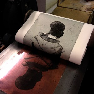 White collar black man Print being pulled