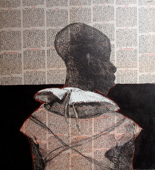 White collar black man , 2014, 40 x 40 cm, chine-collé, Russian newsprint/ ink, crayon V.E. 30