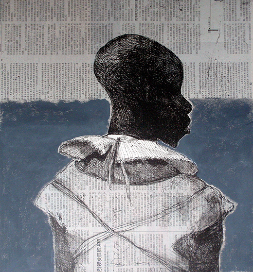 White collar black man , 2014, 40 x 40 cm, chine-collé, Chinese newsprint / grey paint V.E. 30