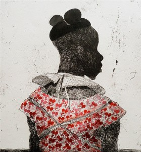 White collar black man , 2014, 40 x 40 cm, etching, hand coloured, ink and stamp V.E. 30