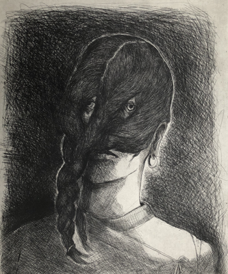 Back to front face, 2019, 50 x 40 cm, etching, ed. 30