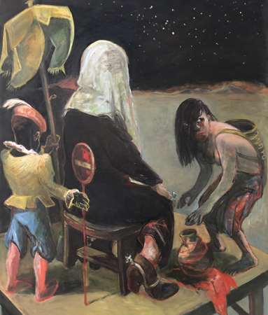 Confrontation with immutability 1, 2019, oil on canvas , 120 x 100 cm
