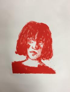 Redhead 1, 2019, stone litho, 57 x 46 cm
