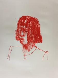 Redhead 2, 2019, stone litho, 57 x 46 cm