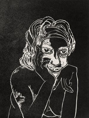 La Penseuse, linocuts, 2020, 40 x 30 cm, ed. 20