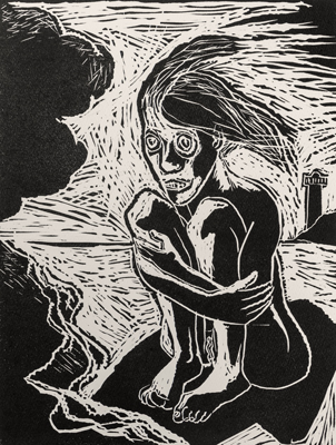 Don't know whether to scream or cry 1, linocut, 2020, 40 x 30 cm, ed. 20