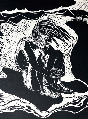 Don't know whether to scream or cry 2, linocut, 2020, 40 x 30 cm, ed. 20