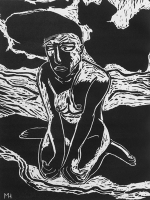 Don't know whether to scream or cry 3, linocut, 2020, 40 x 30 cm, ed. 20