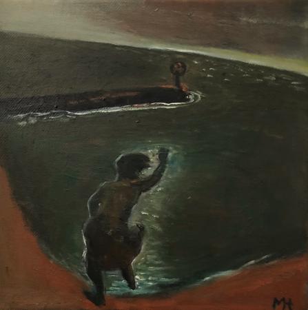 Breakwater 1, 2021, oil on canvas, 20 x 20 cm