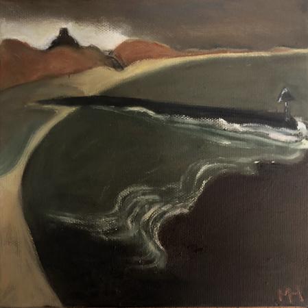 Breakwater 2, 2021, oil on canvas, 20 x 20 cm