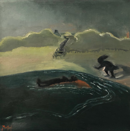 Le Retour Futile 1, 2021, oil on canvas, 20 x 20 cm