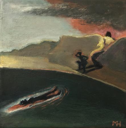 Le Retour Futile 2, 2021, oil on canvas, 20 x 20 cm