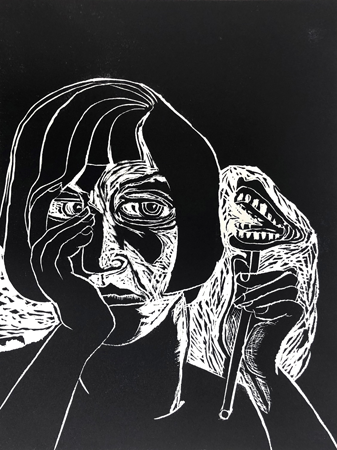 Lockdown conversation, 2020, linocut, 40 x 30 cm, ed. 20