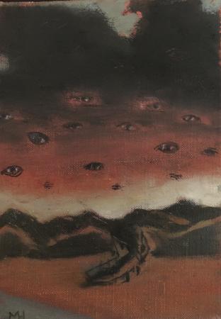 Night eyes, 2021, oil on canvas, 18 x 12,5 cm